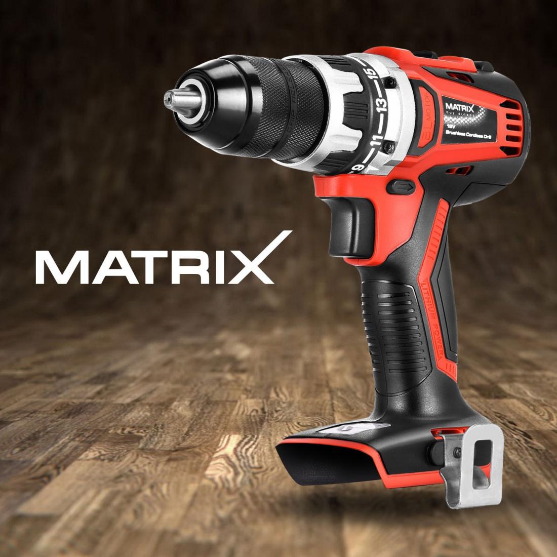 Matrix Brushless Cordless Drill Driver 20V Li-Ion Electric Power Tool Skin