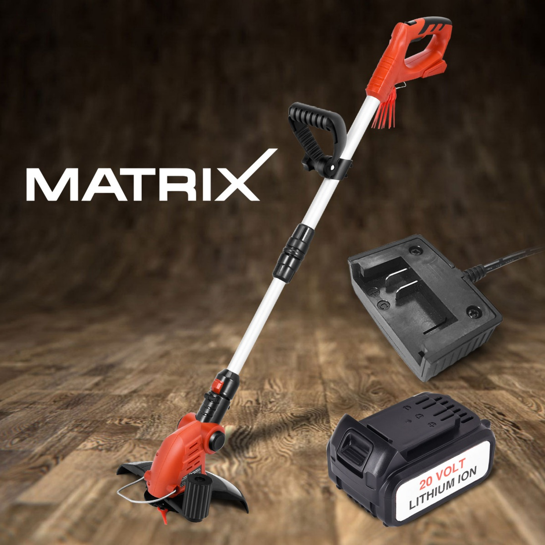 Matrix 20V Cordless Grass Edge Trimmer Snipper 4.0ah Battery Charger Garden Tool