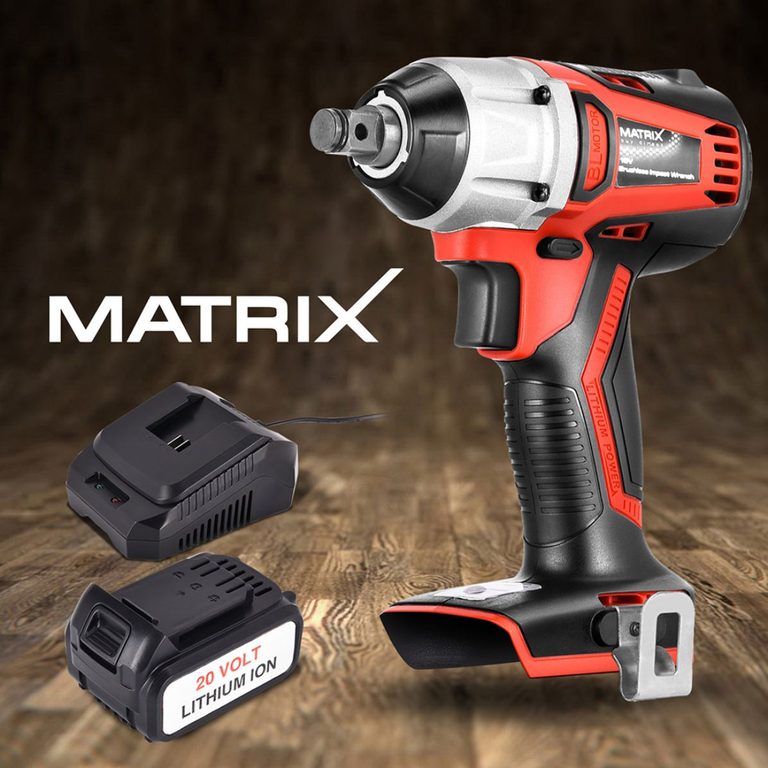 "Matrix 20V Brushless Cordless Impact wrench 1/2"" 4.0ah Li-Ion Battery Charger"