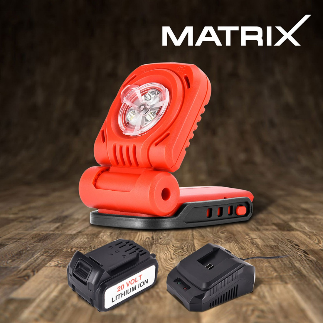 NEW Matrix 20V Cordless Flashlight Work Light 4.0ah Li-Ion Battery Charger