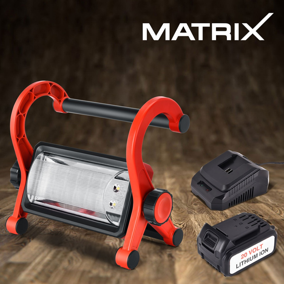 NEW Matrix 20V Cordless LED Work Light Waterproof 4.0ah Lithium Battery Charger