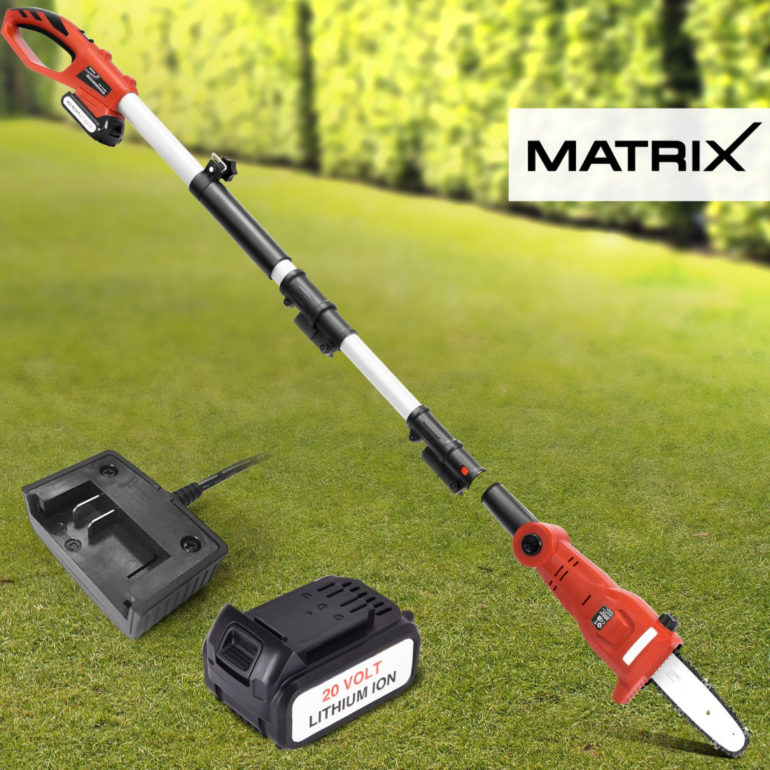 Matrix 20V Cordless Pole Chainsaw Head Attachment 4.0ah Lithium Battery Charger