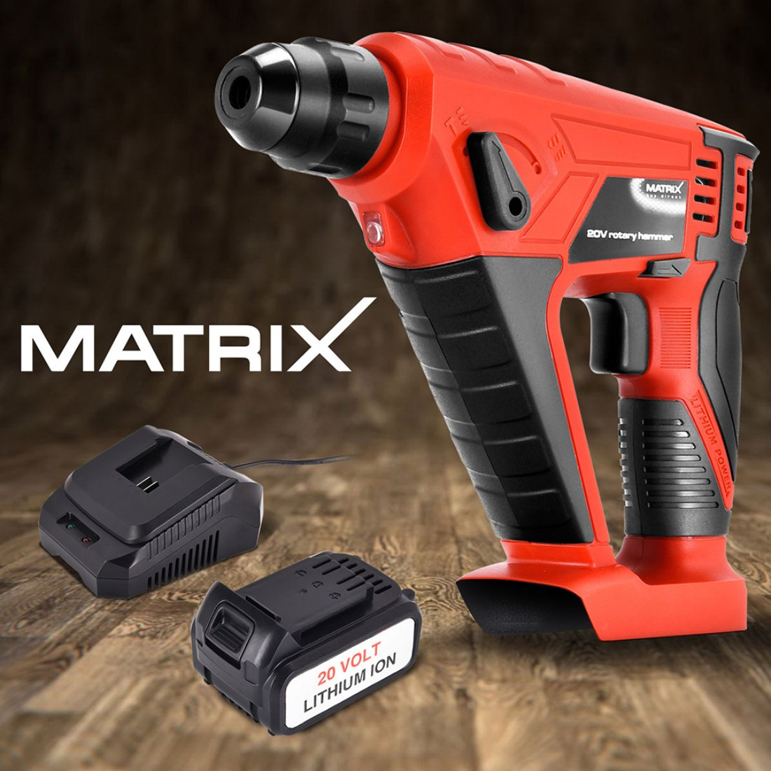 New Matrix 20V Cordless Rotary Hammer Drill Power Tool 4.0ah Li-Ion Battery