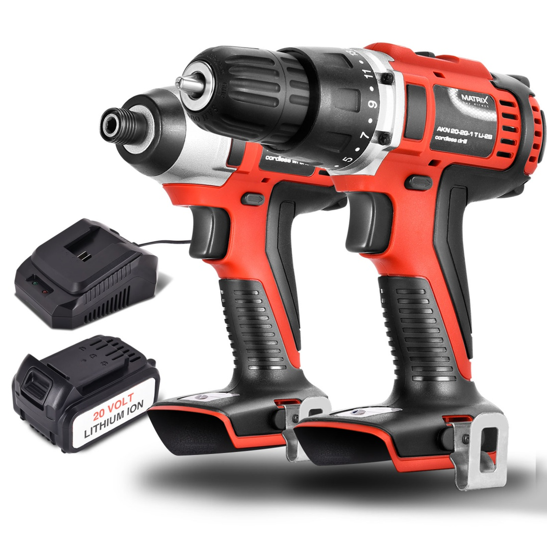 Matrix 20V Cordless Drill & Impact Driver Li-Ion Lithium Electric Power Tool Set