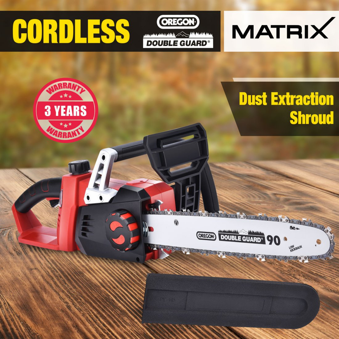 Matrix 40V Cordless Chainsaw 355MM Bar Oregon Lithium Saw Tool Skin Only