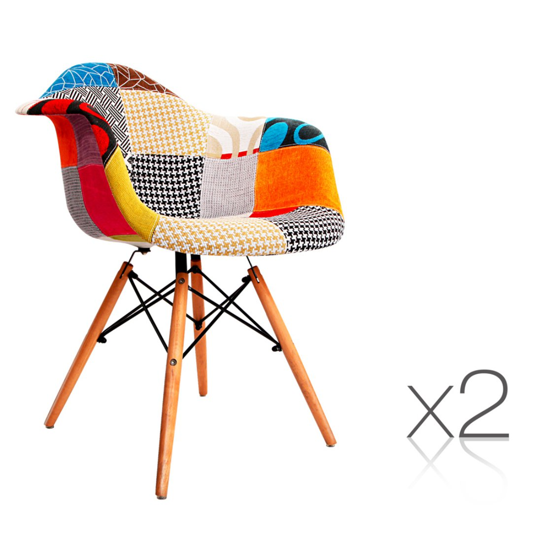 Set of 2 Replica Eames Eiffel DAW Dining Chairs Home Cafe Kitchen Beech Fabric