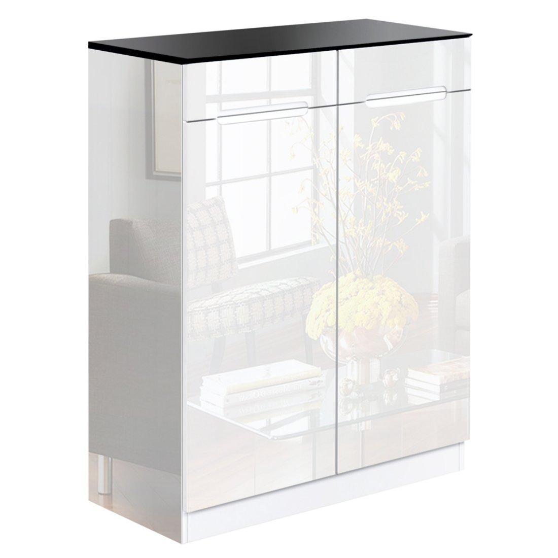 High Gloss Shoe Cabinet Rack Black / White