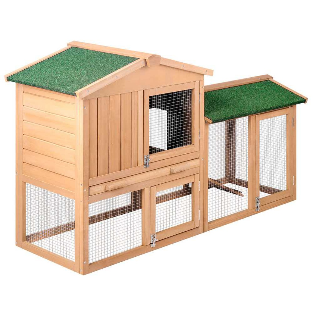 Large 2 Storey Rabbit Hutch Wooden Cage Pet Poultry Guinea Pigs Chicken Coop
