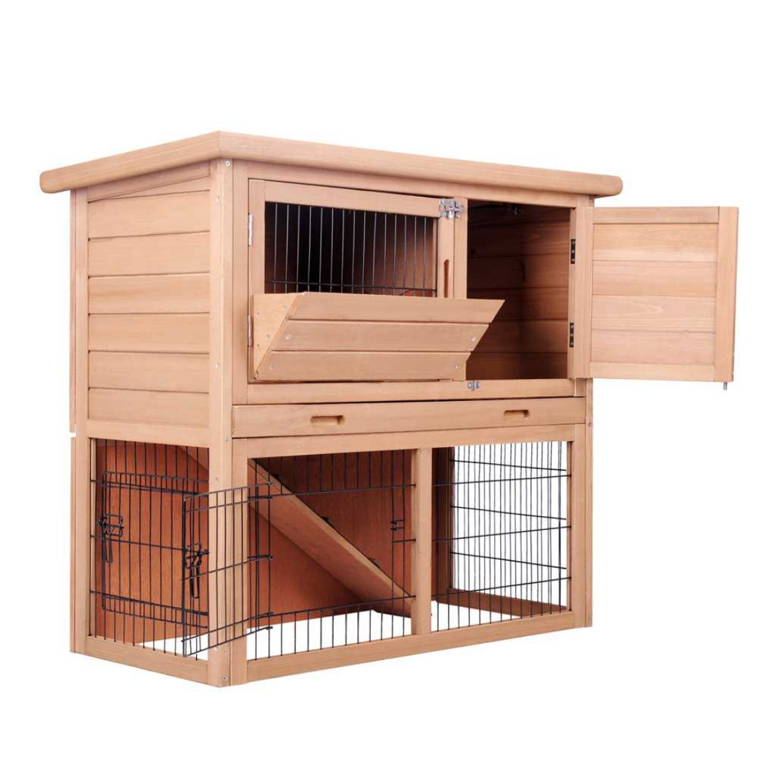 Medium 2 Storey Rabbit Hutch Wooden Cage Poultry Pet Guinea Pigs Rabbits Ferrets