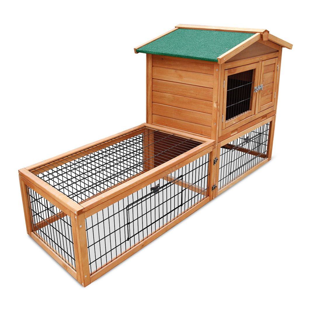 Double Storey Pet Hutch with Under Run Green