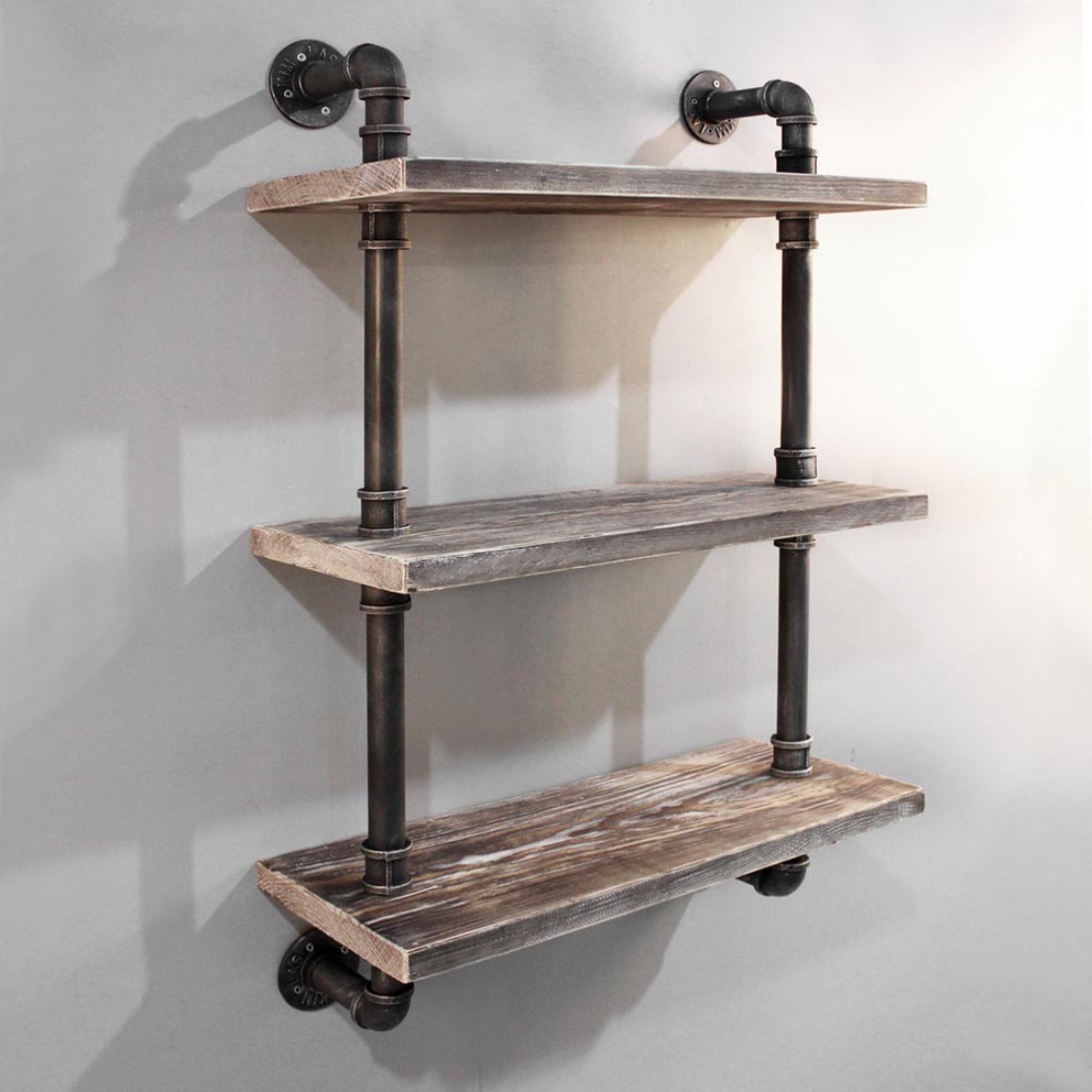 3 Level Rustic Bookshelf Industrial Pipe and Wood Shelf Vintage Look Wall Mount