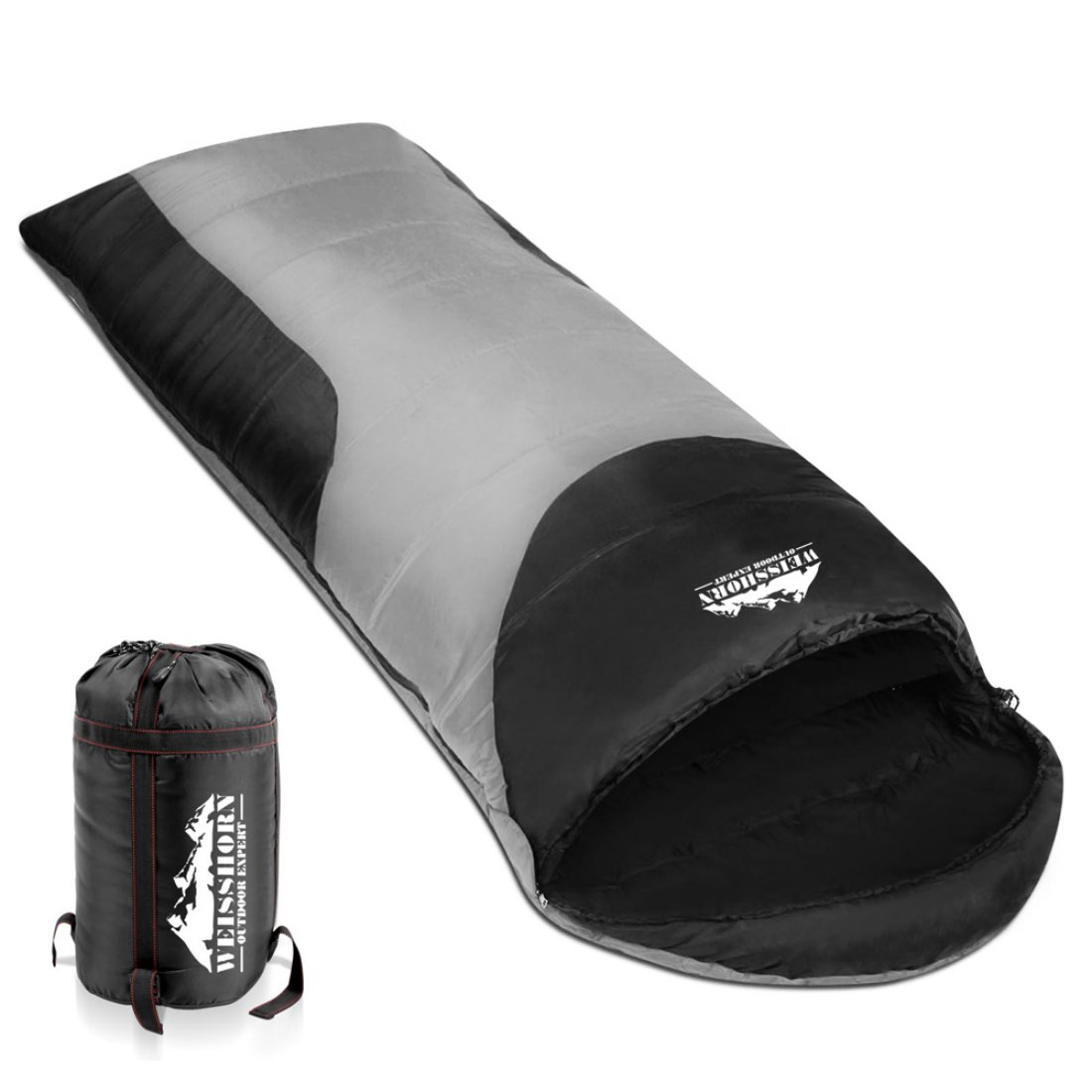Camping Envelope Sleeping Bag Single Grey black