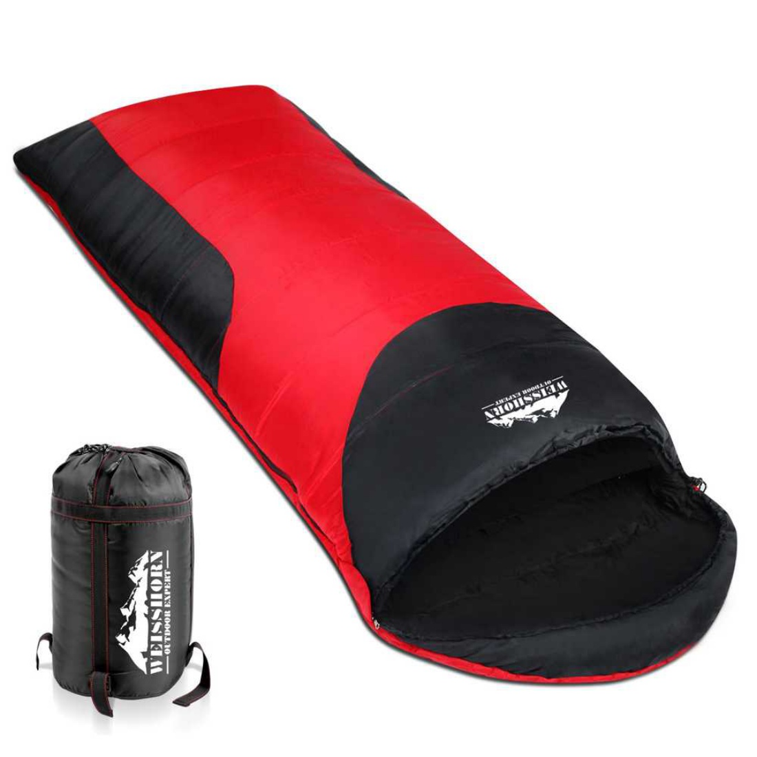 Camping Envelope Sleeping Bag Single Red Black