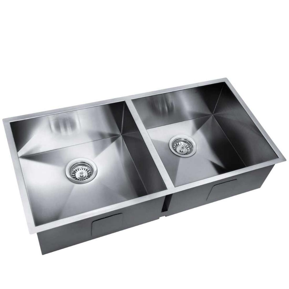 Stainless Steel Kitchen/Laundry Sink w/ Strainer Waste 865x440mm