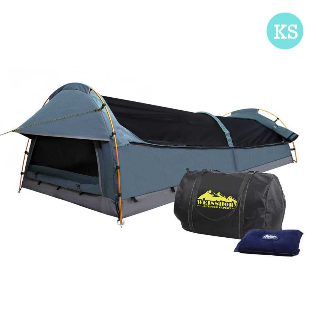 King Single Camping Canvas Swag Tent Navy w/ Air Pillow