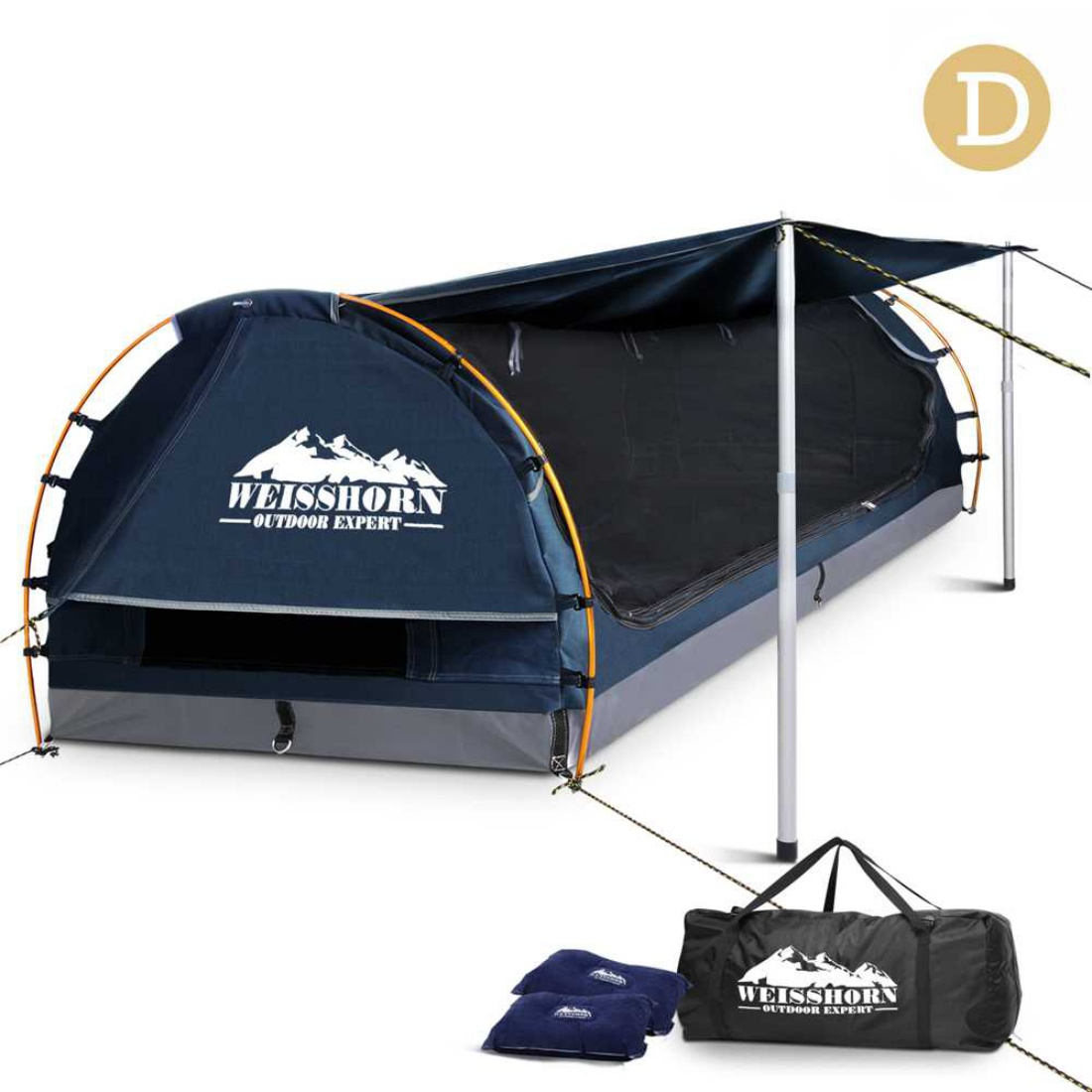 Double Camping Canvas Swag Blue with Mattress and Air Pillow