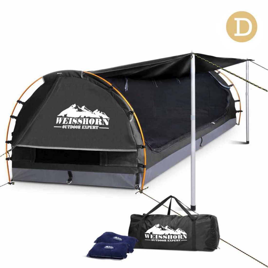 Double Camping Canvas Swag Grey with Mattress and Air Pillow