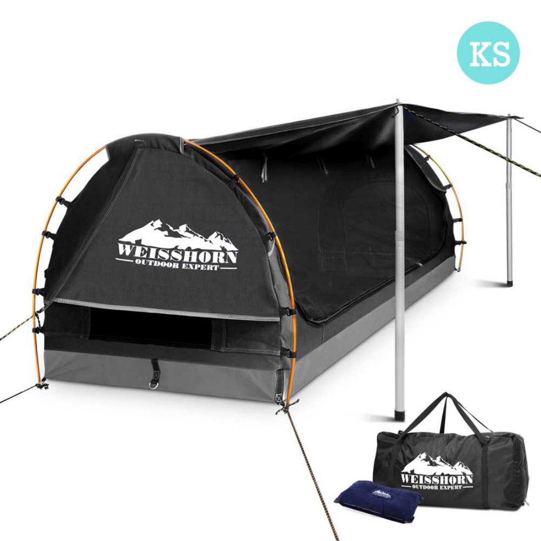 King Single Grey Camping Canvas Swag with Mattress and Air Pillow