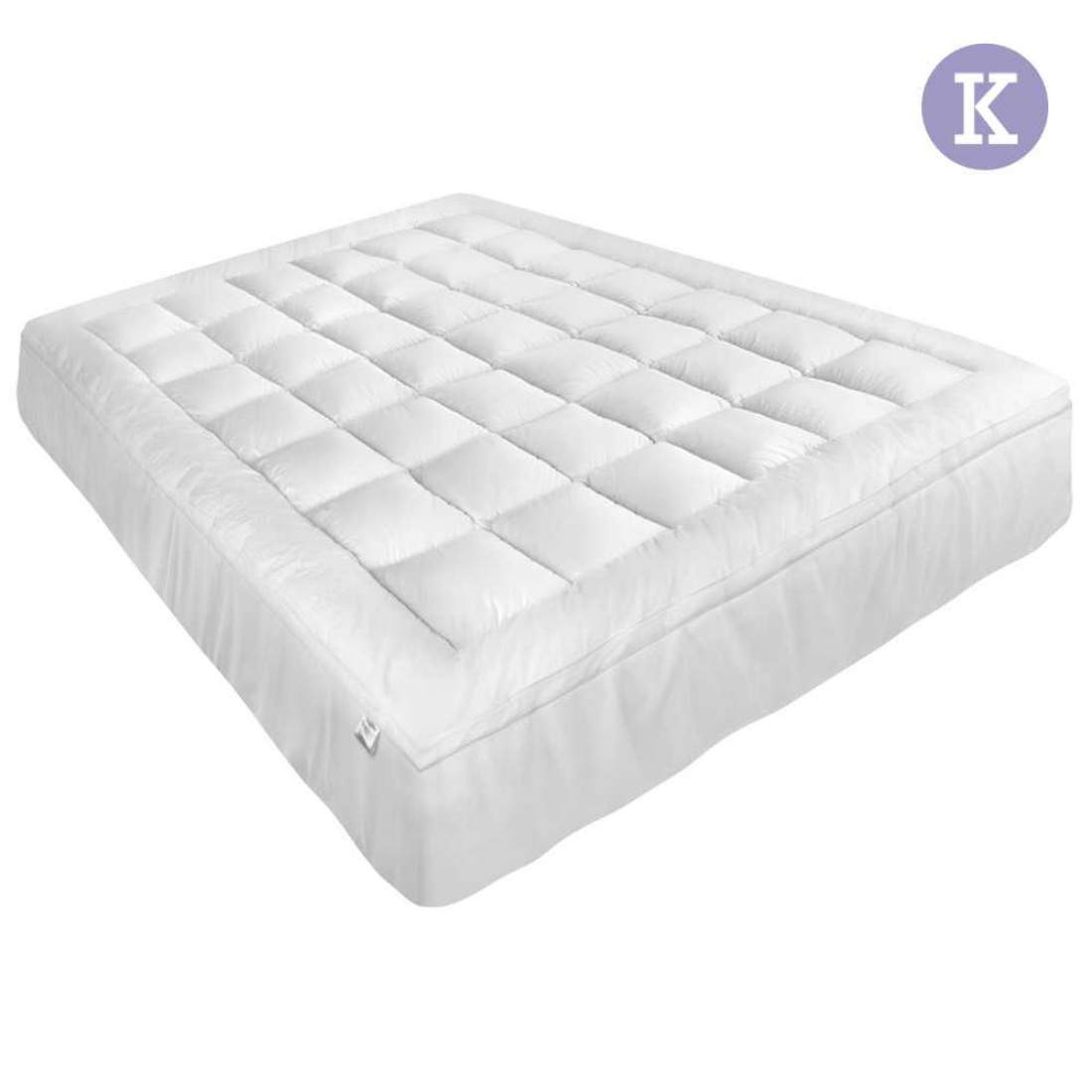 King Pillowtop Mattress Topper Memory Resistant Protector Pad Cover