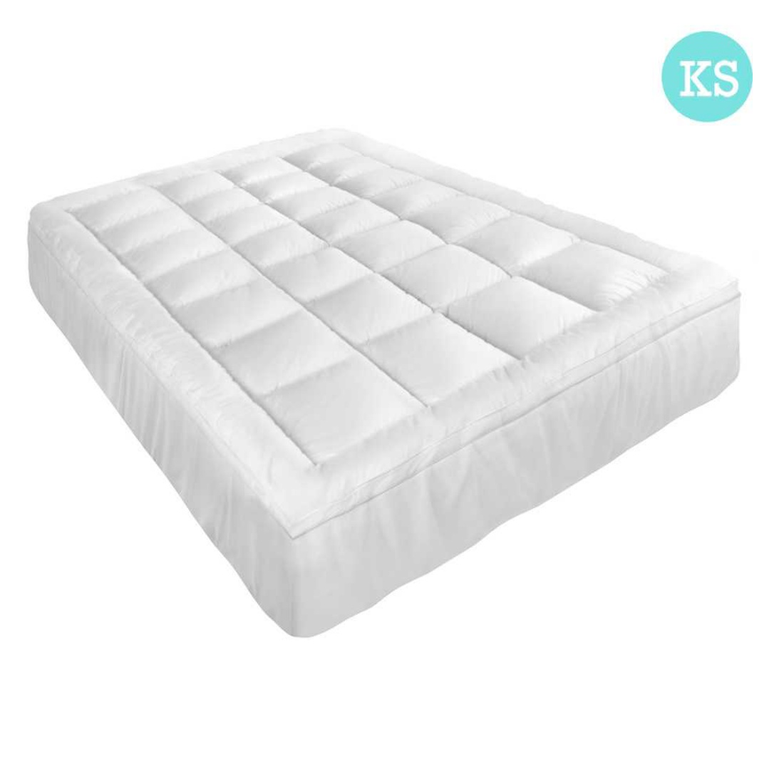 King Single Pillowtop Mattress Topper Memory Resistant Protector Pad Cover