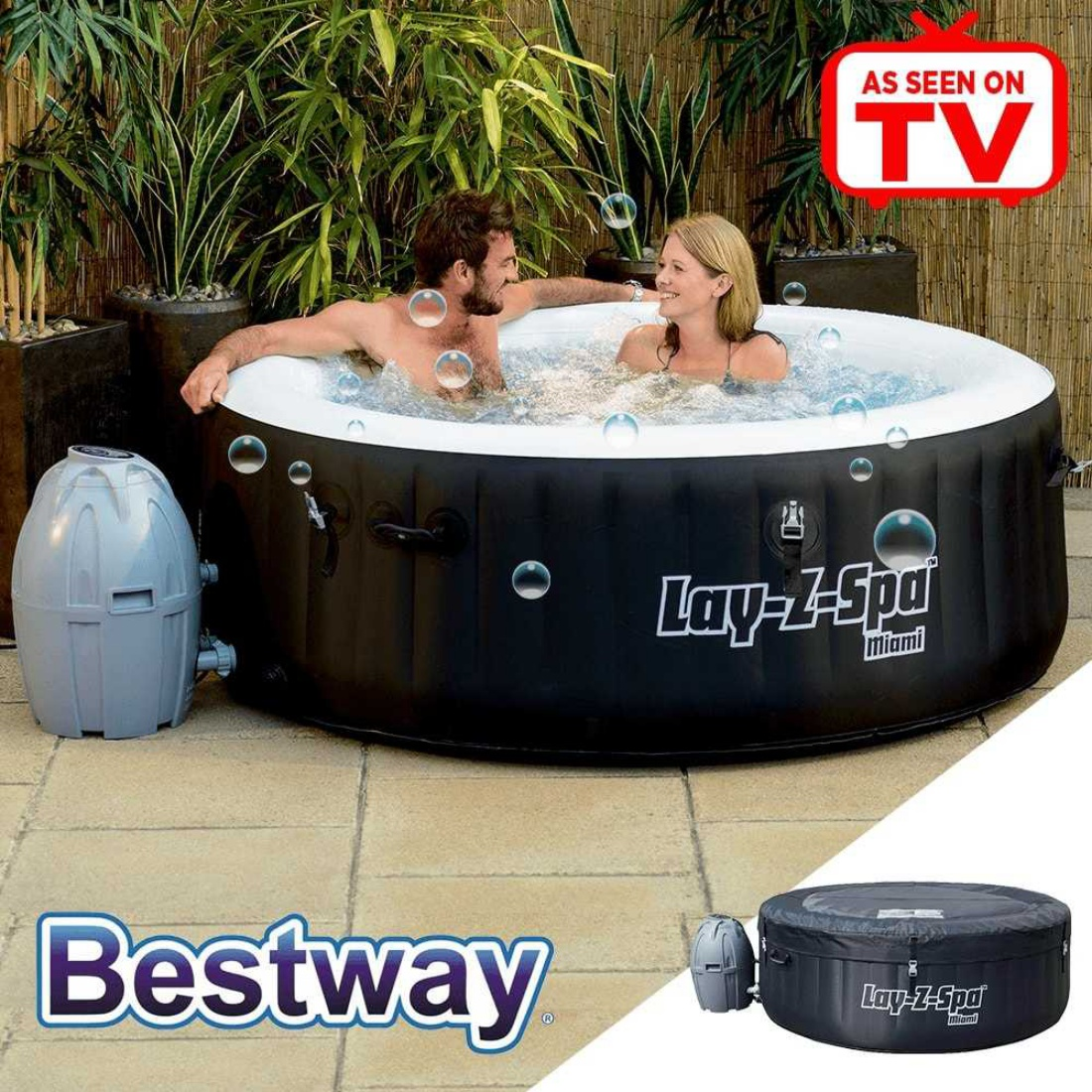 Bestway Lay-Z-Spa MIAMI - Heated Hot Tub Spa Massage - 81 Jets - 2 to 4 People