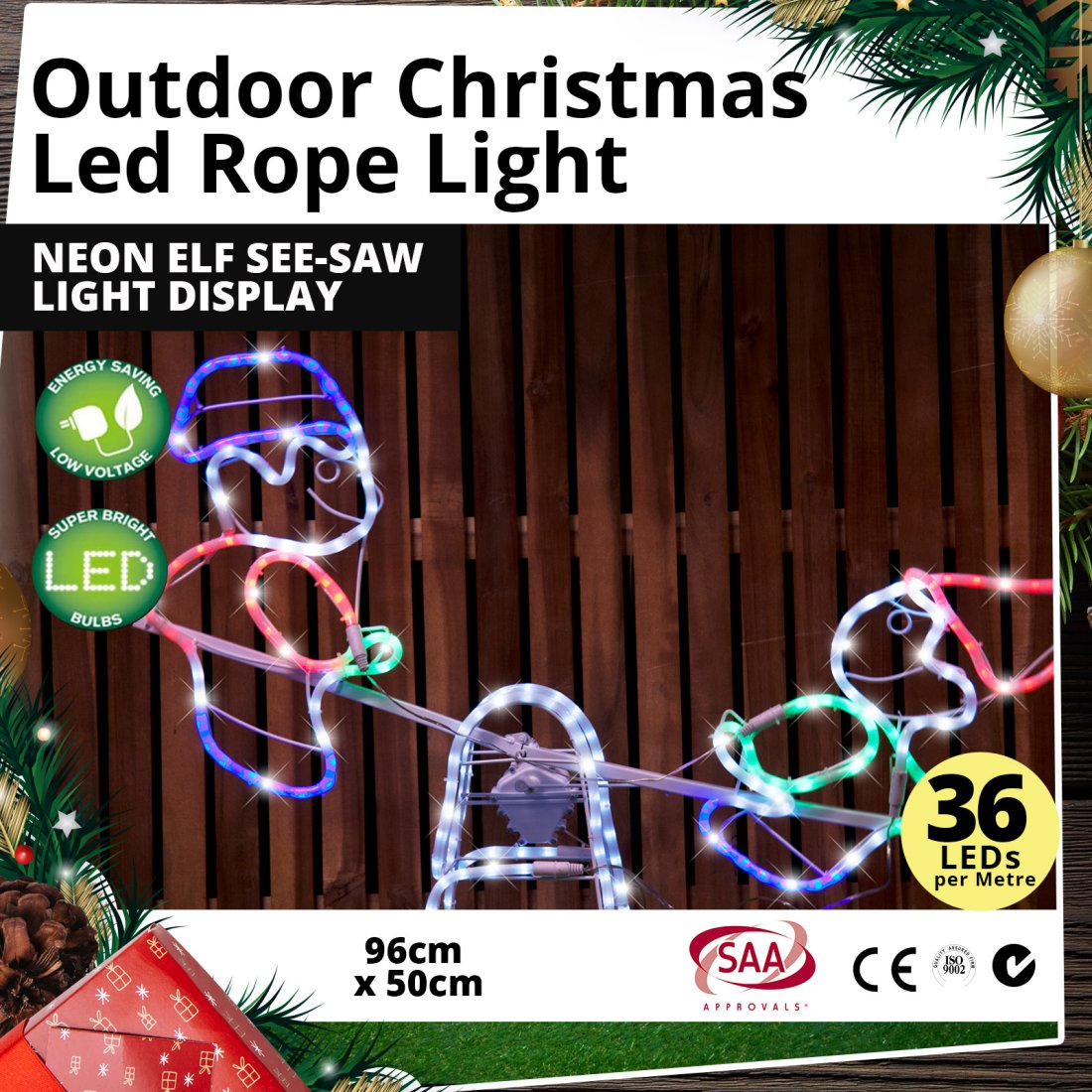 Outdoor LED Rope Light Neon Elf See-Saw Christmas Light Display