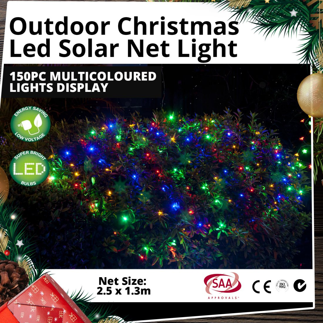 Outdoor LED Solar Net Light 150pc Multicoloured Christmas Lights Display