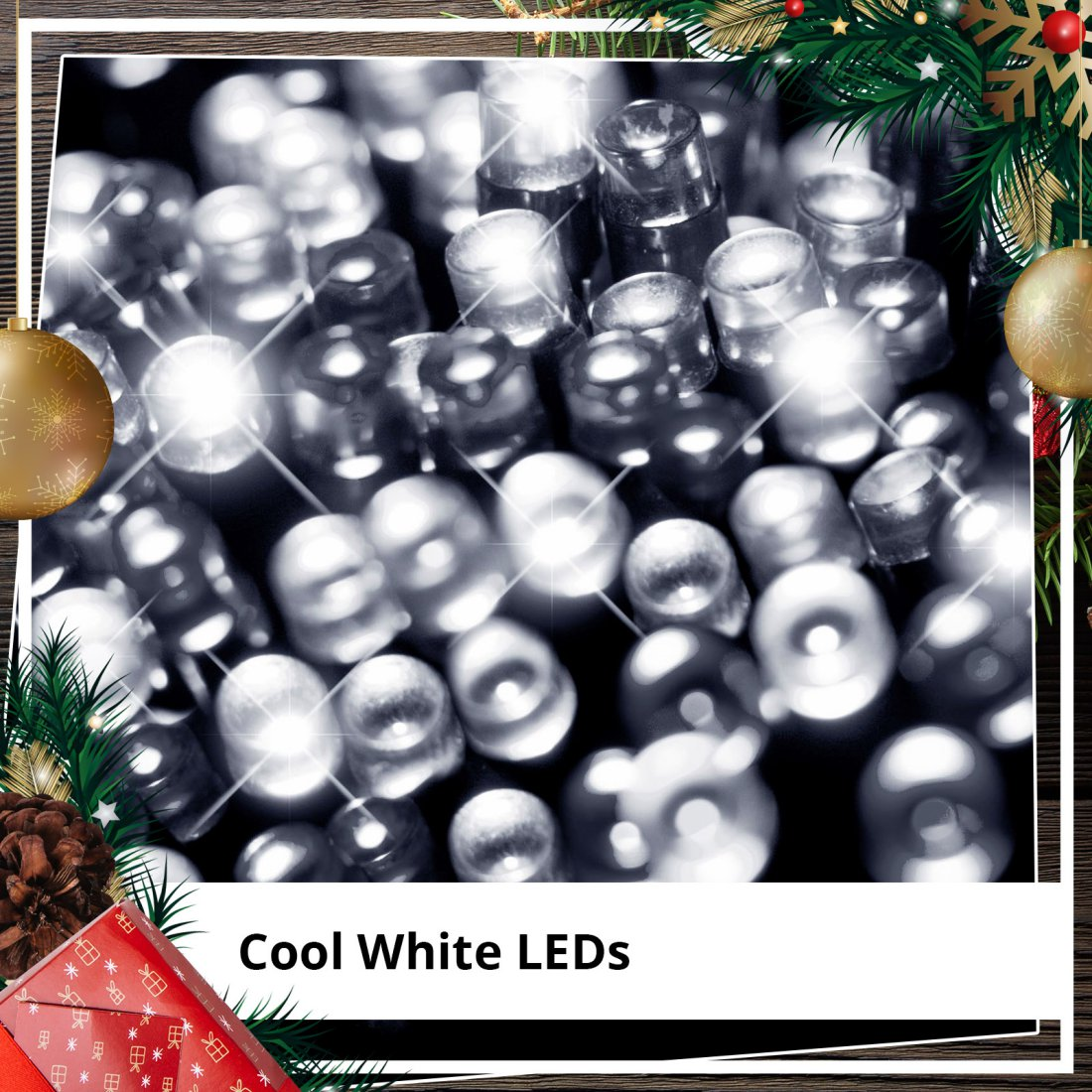 Christmas 50pc White Solar Flashing LED Lights