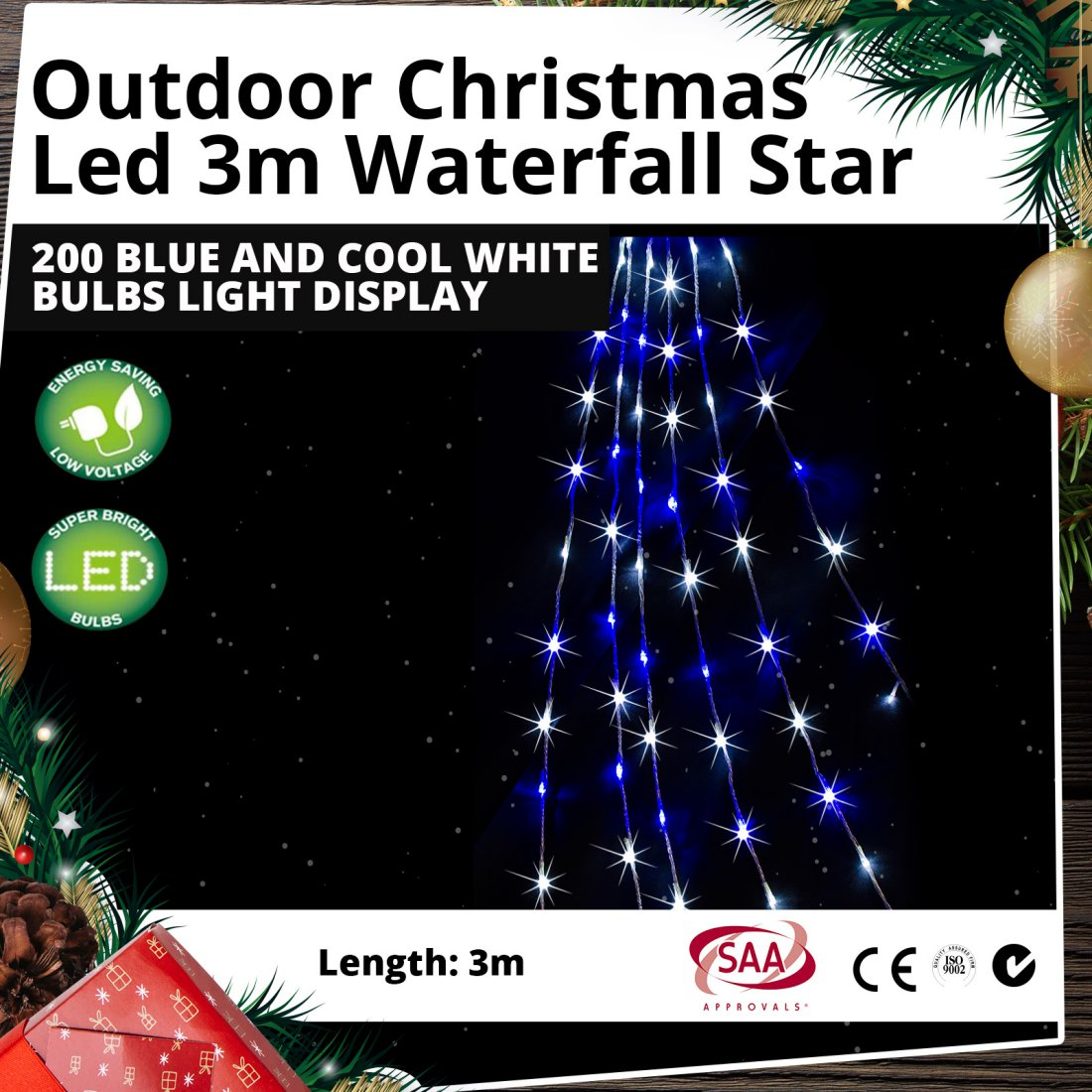 Outdoor LED 3m Waterfall Star 200 Blue and Cool White Bulbs Christmas Light Display