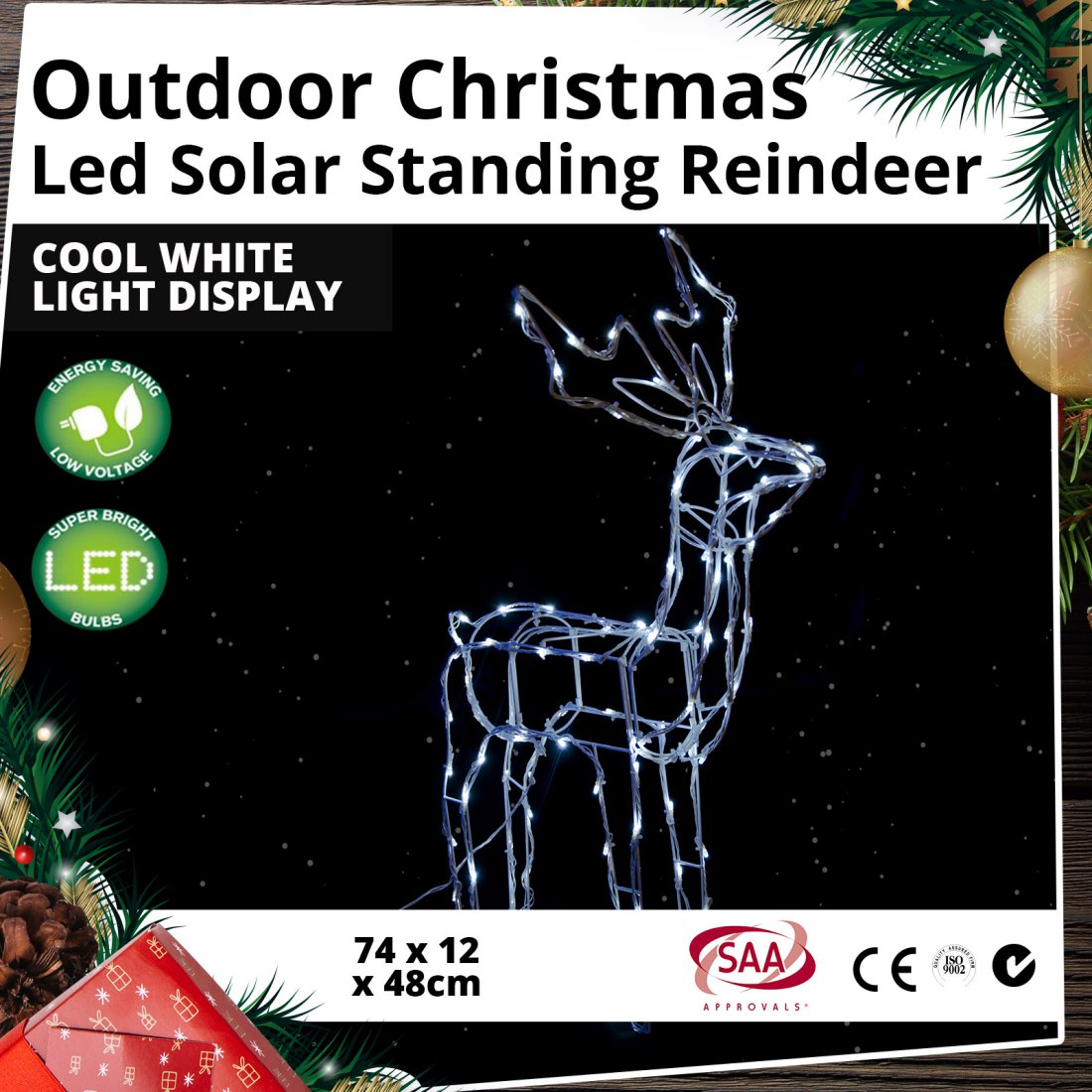 Outdoor LED Solar Standing Reindeer Cool White Christmas Light Display