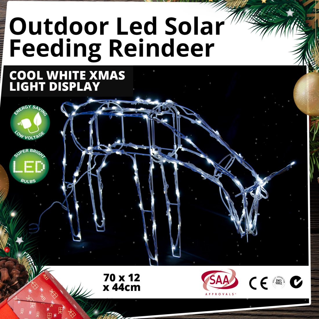 Outdoor LED Solar Feeding Reindeer Cool White Christmas Light Display