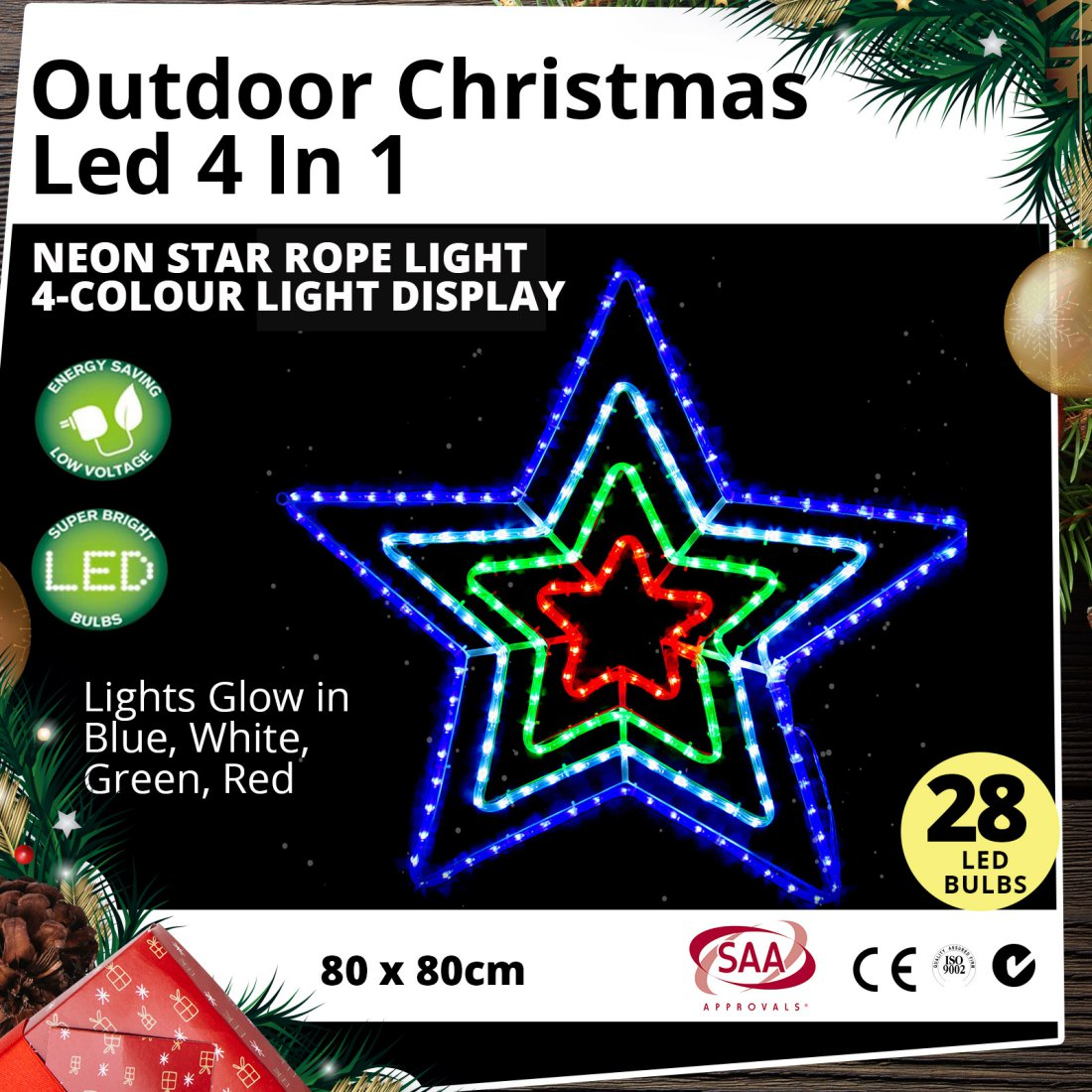 Outdoor LED 4 in 1 Neon Star Rope Light 4-Colour Christmas Light Display