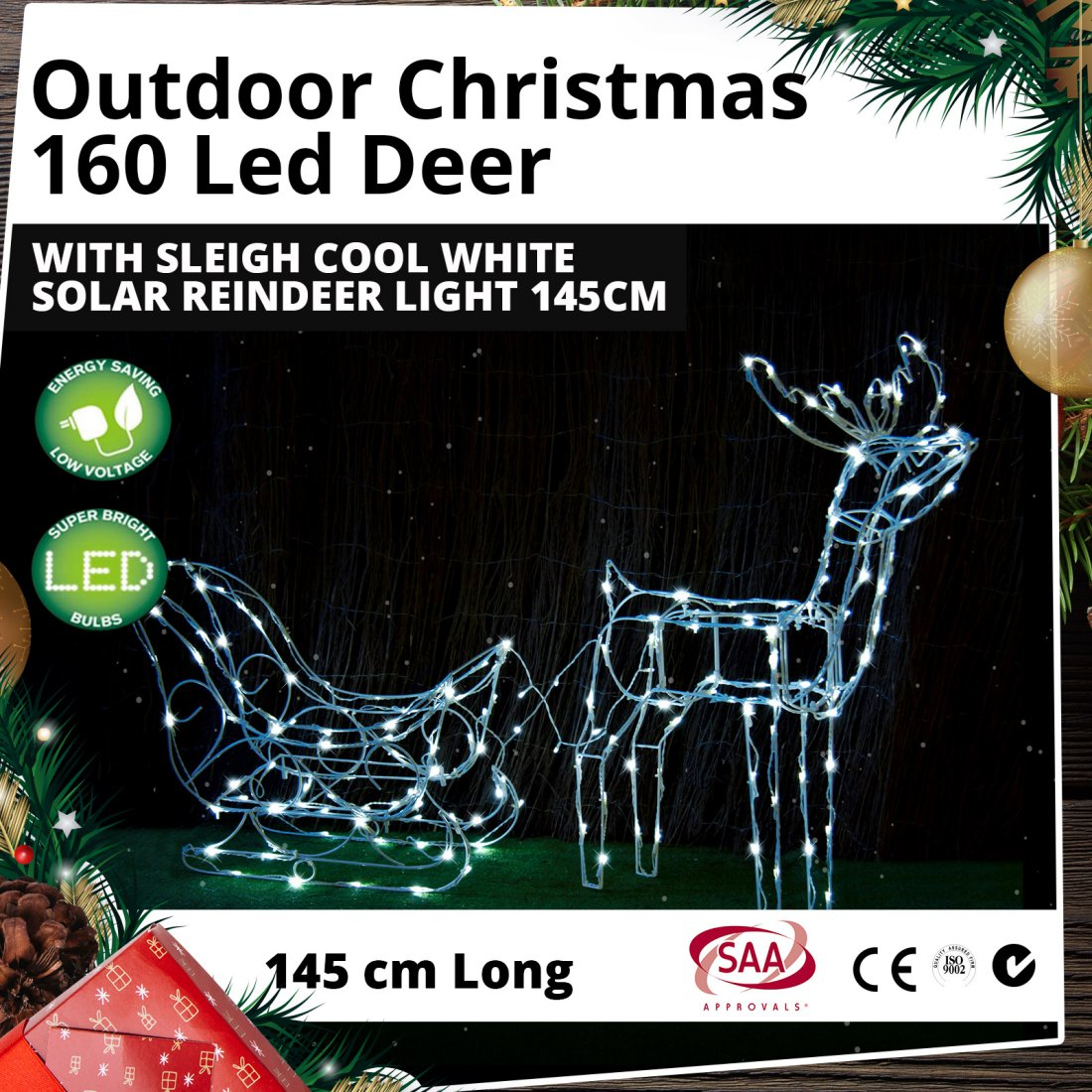 160 LED Deer with Sleigh Cool White Outdoor Solar Christmas Reindeer Light 145cm