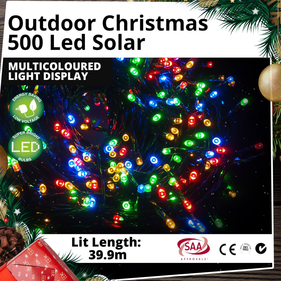 Outdoor 500 LED Solar Multicoloured Christmas Light Display