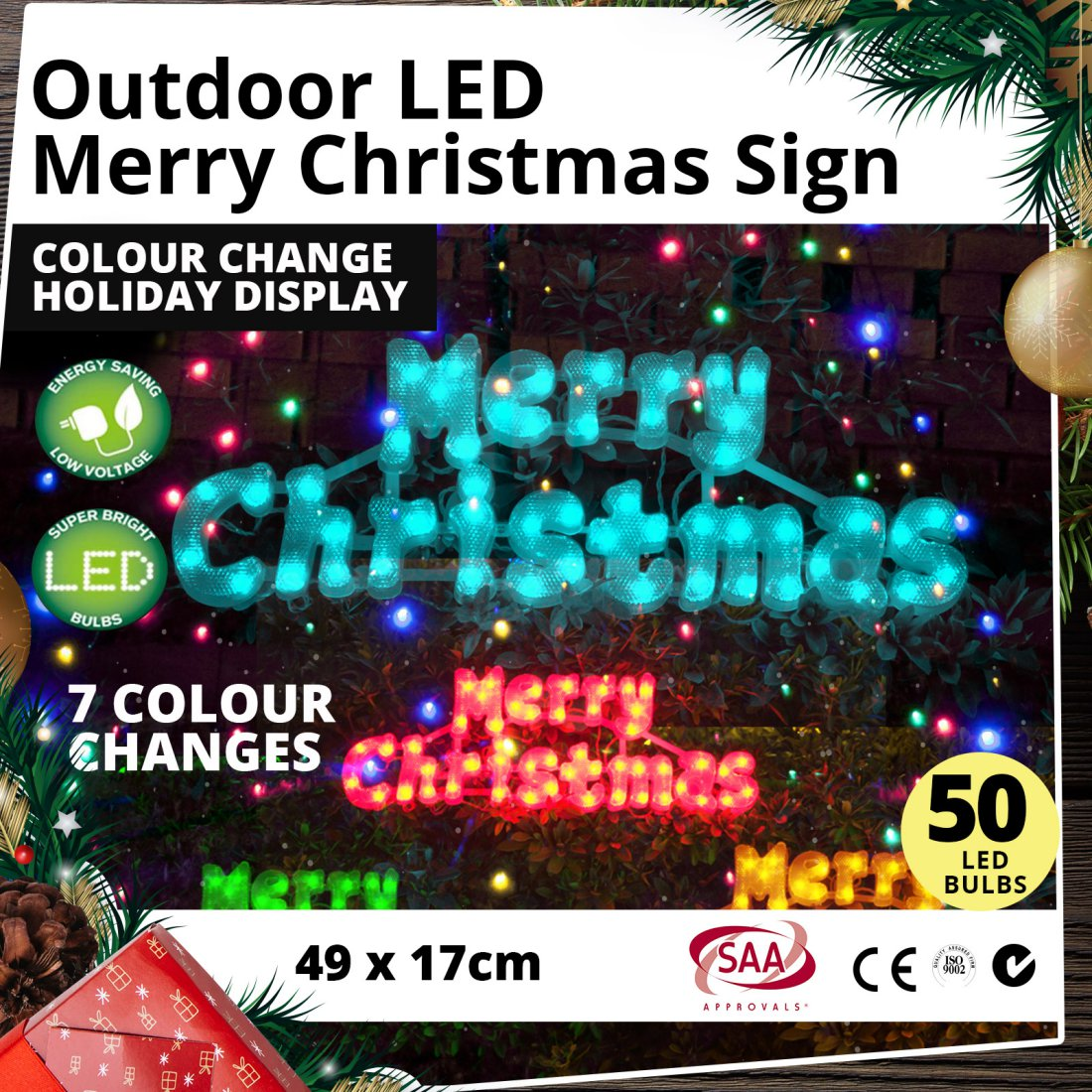 Outdoor LED Merry Christmas Sign Colour Change Holiday Display