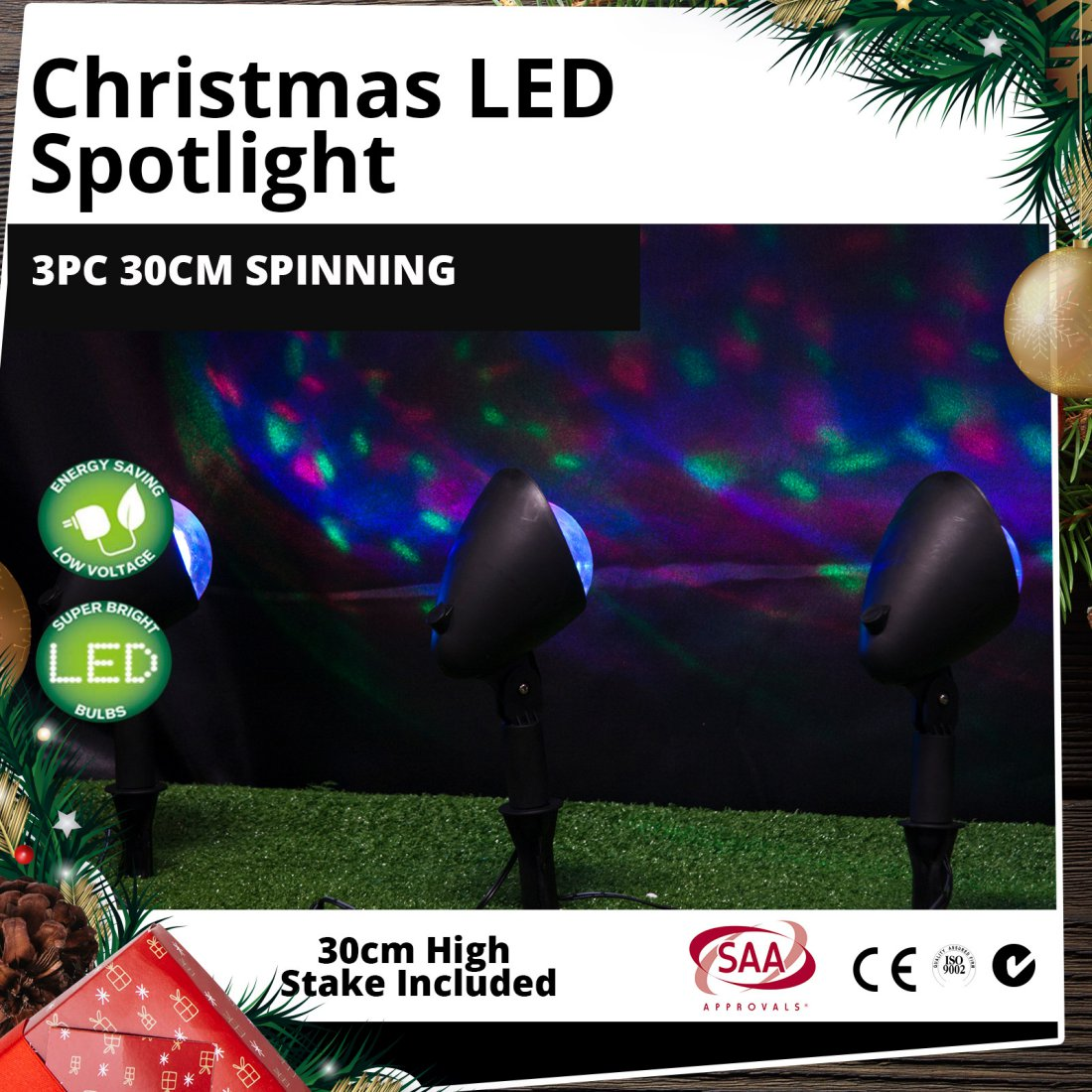 Outdoor LED 3pc Spotlights 30cm High Disco-Effect