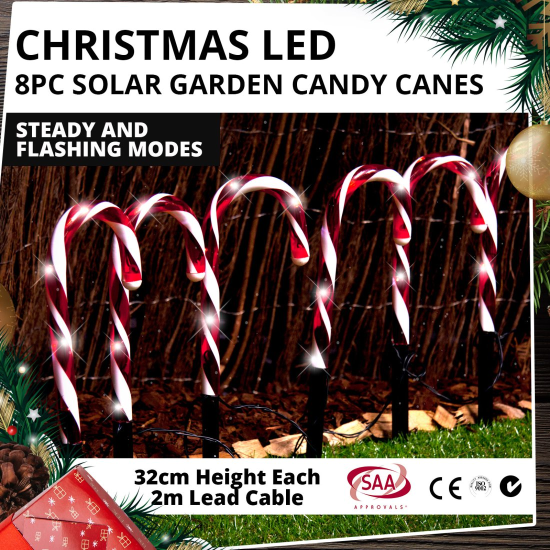 Christmas LED 8pc Solar Garden Candy Canes