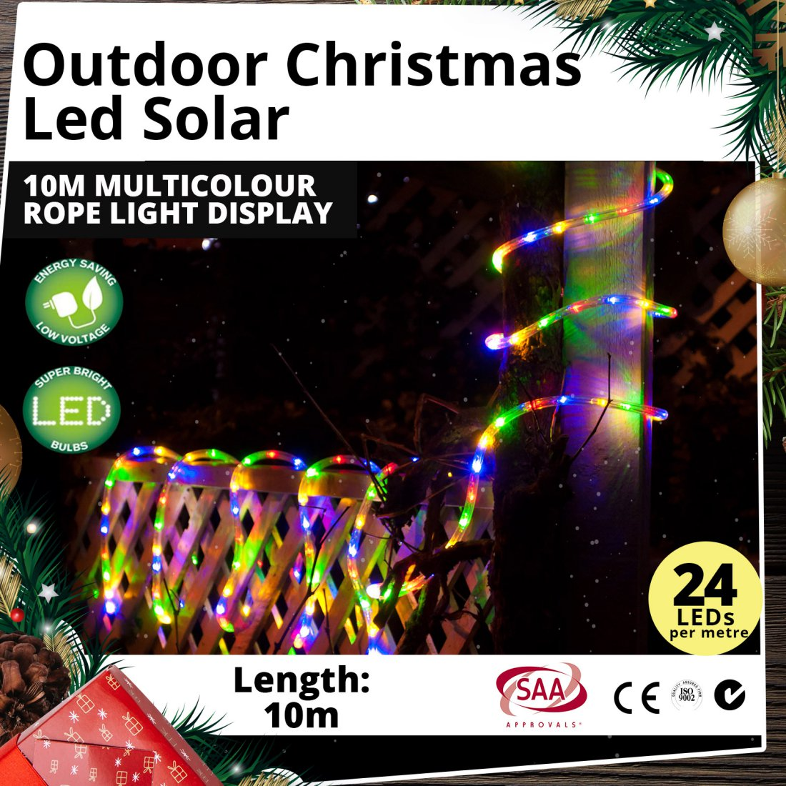 Outdoor LED Solar 10m Multicolour Rope Light Christmas Display