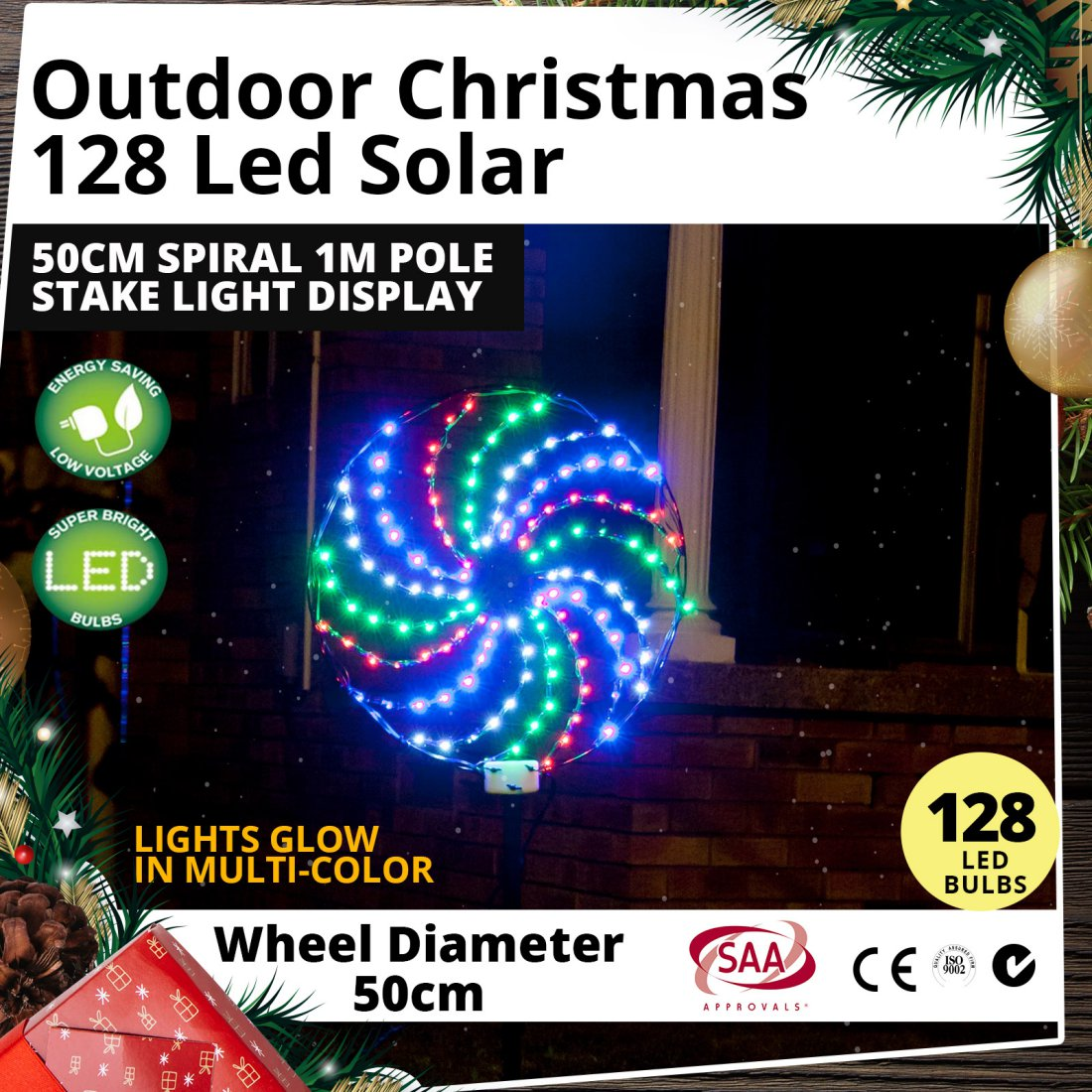 Outdoor 128 LED Solar 50cm Spiral 1m Pole Stake Christmas Light Display
