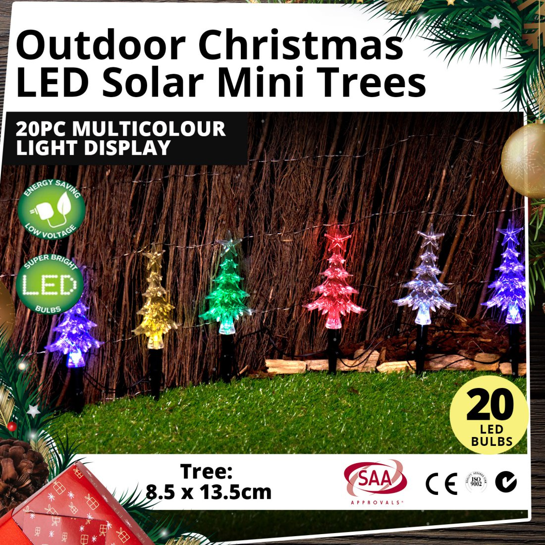 Outdoor LED Solar Mini Trees 20pcs Multicolour Light Christmas Display