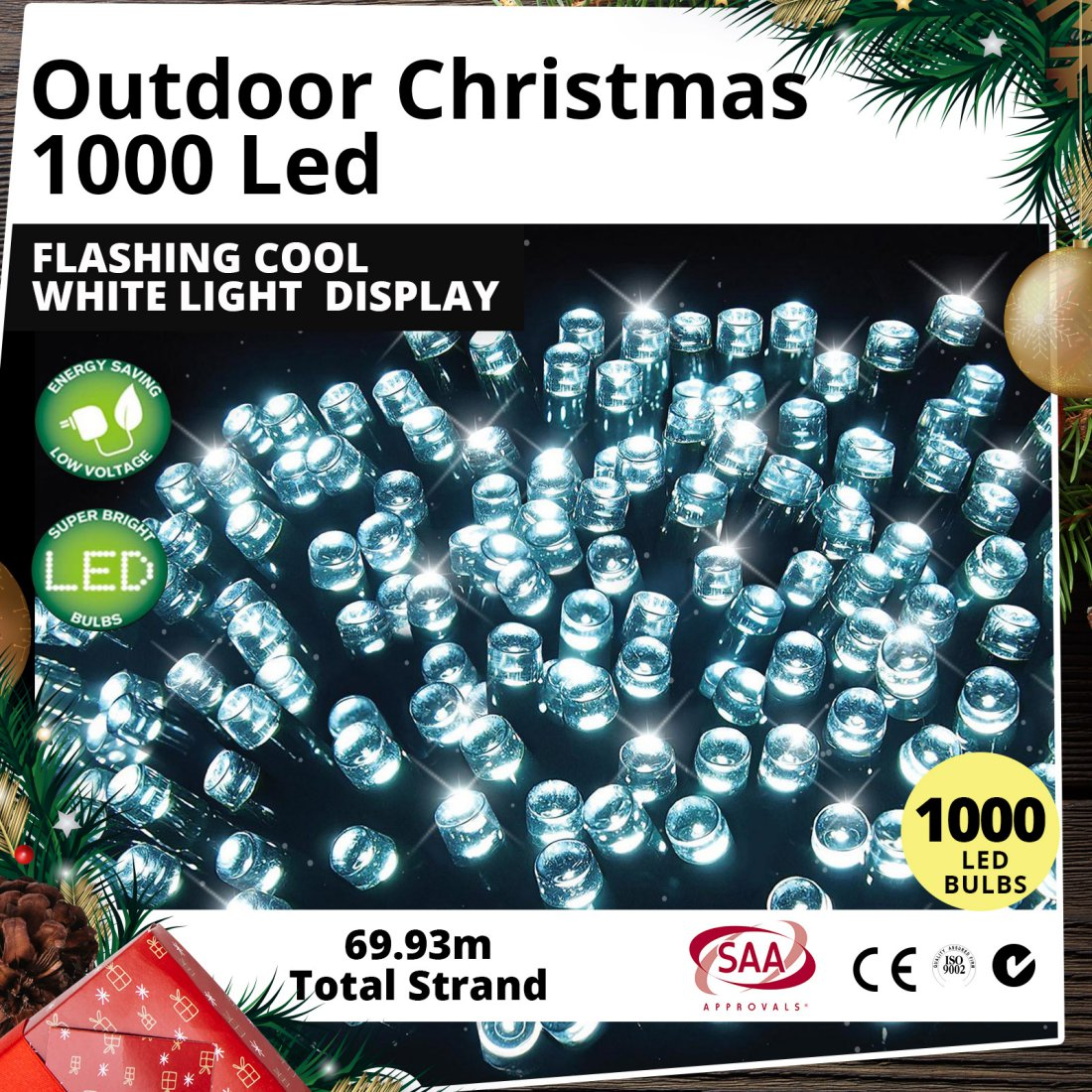 Outdoor 1000 LED Flashing Cool White Light Christmas Display
