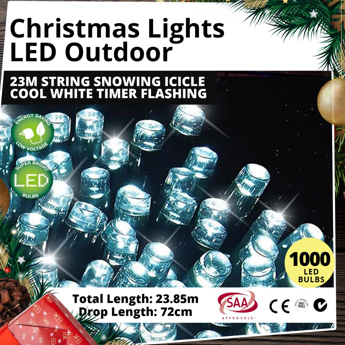 Christmas Lights LED Outdoor 23M String Snowing Icicle Cool White Timer Flashing