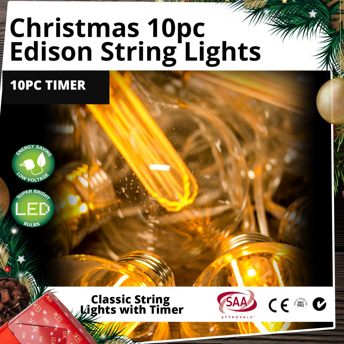 Outdoor LED Edison String Lights 10pc with Timer Christmas Display (CLEARANCE)