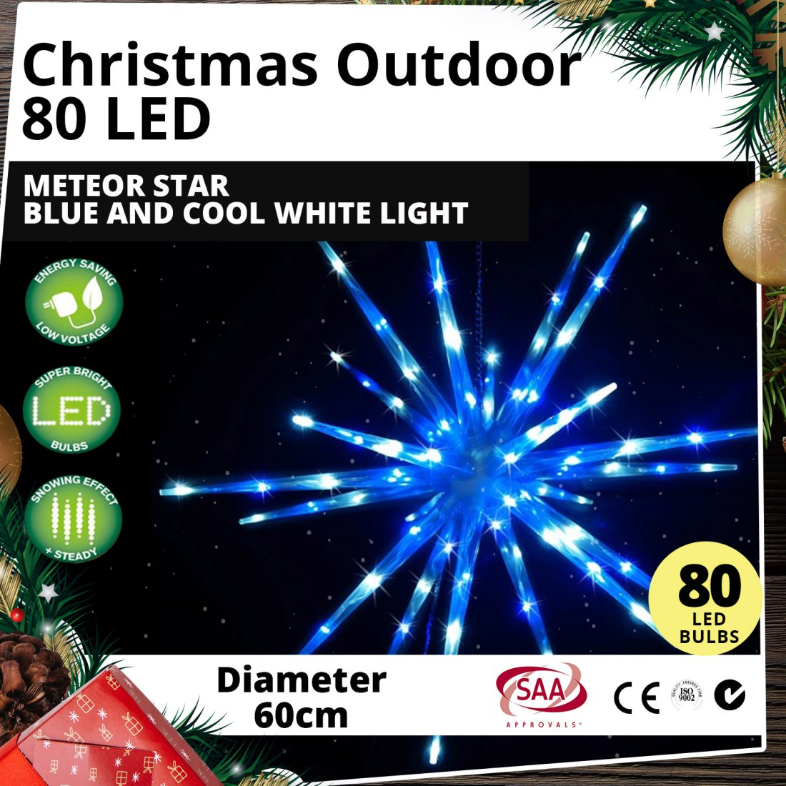 Outdoor 80 LED 60cm Meteor Star Blue White Light Christmas Display