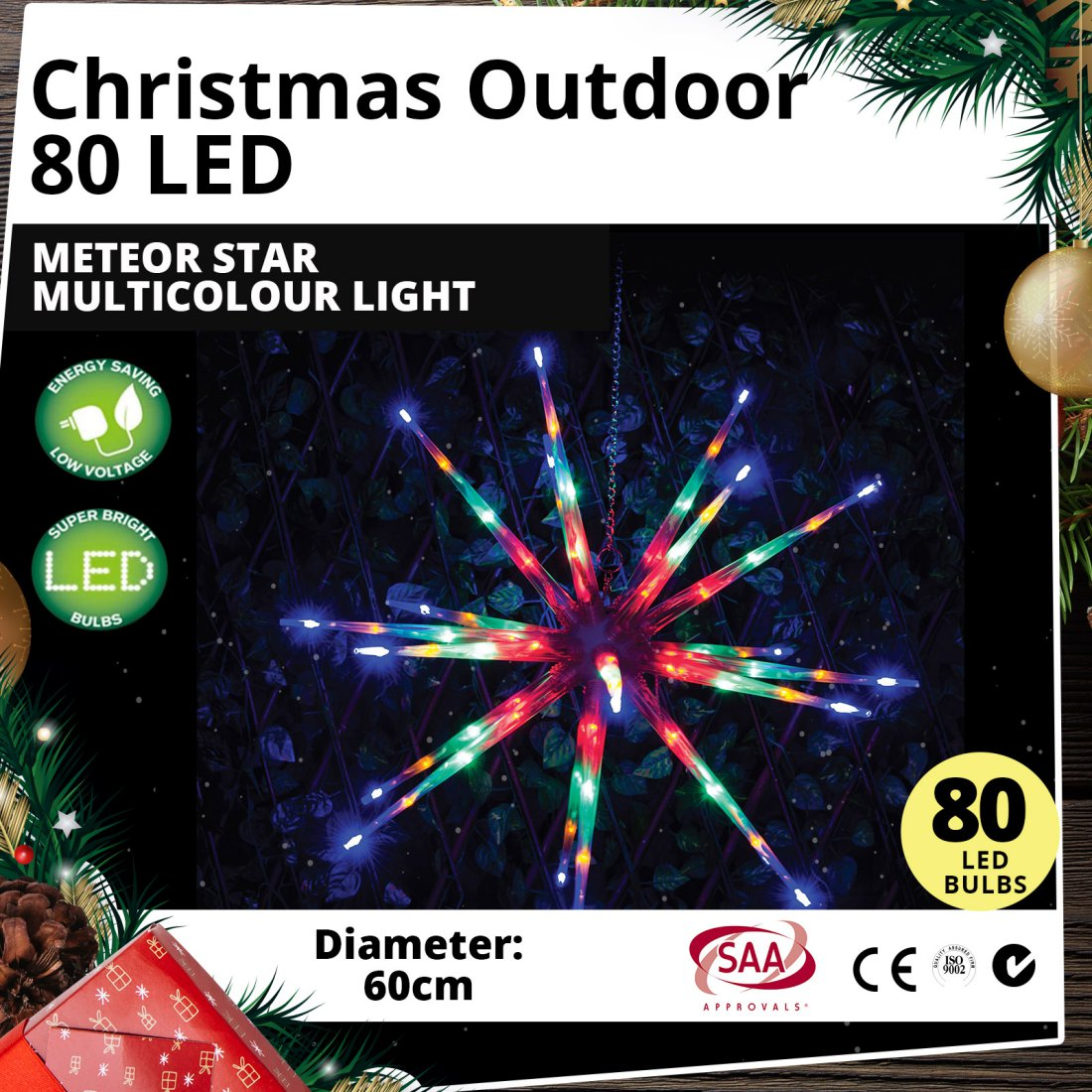 Outdoor 80 LED 60cm Meteor Star Multicolour Light Christmas Display