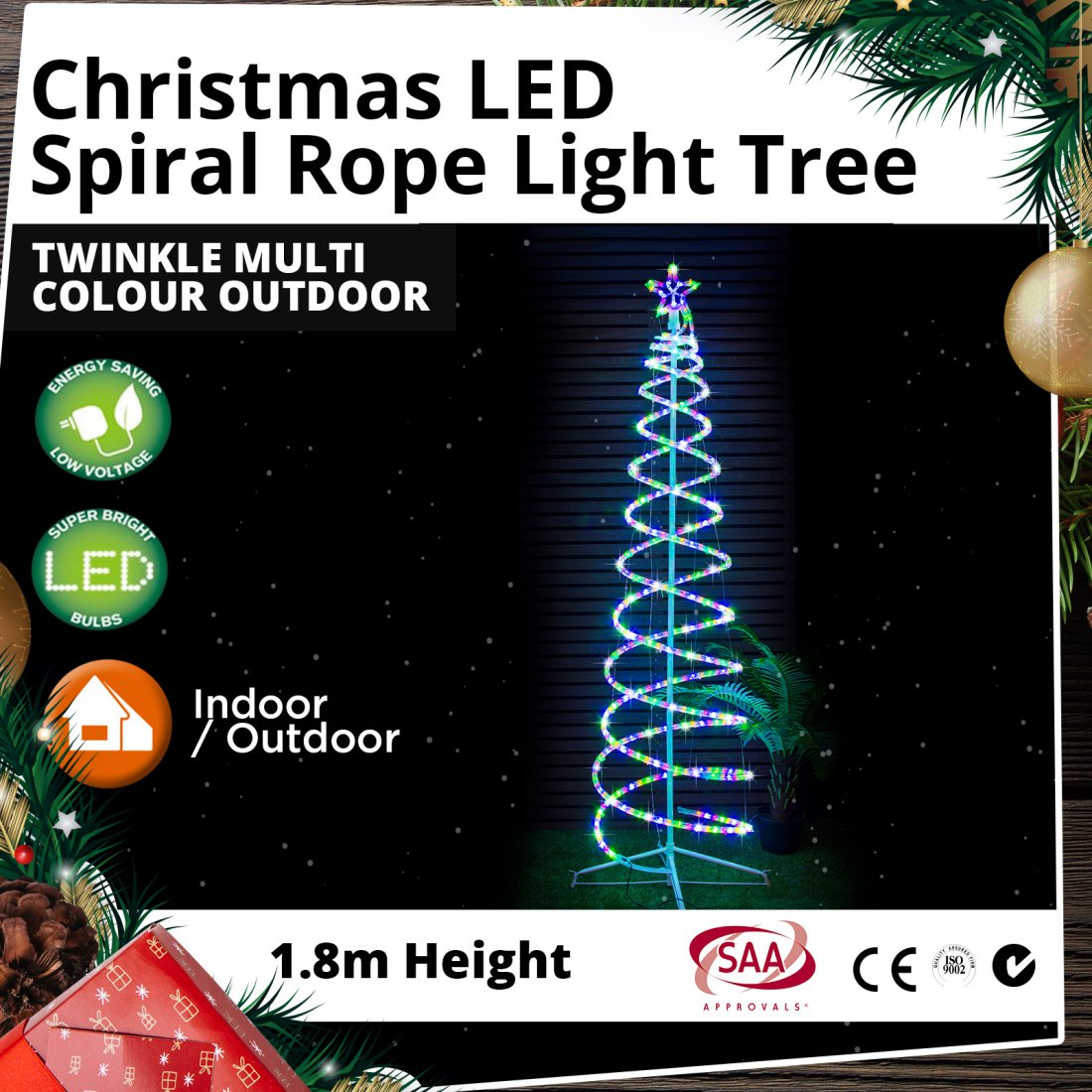 LED Spiral Rope Light Tree 1.8m Twinkle Multi Colour Outdoor Christmas Light