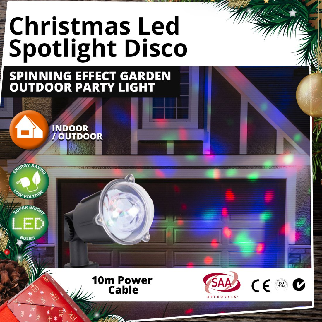 LED Spotlight Disco Spinning Effect Garden Outdoor Christmas Party Light