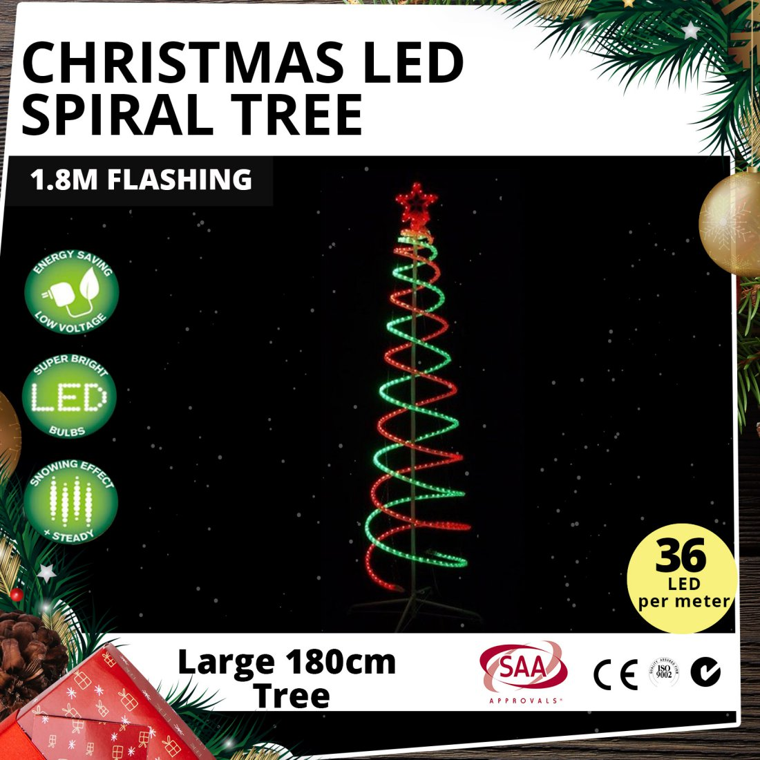 Christmas LED Spiral Tree 1.8m Flashing
