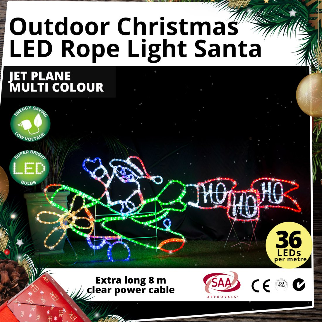 LED Rope Light Santa Jet Plane Multi Colour Outdoor Christmas Light Motif 190cm