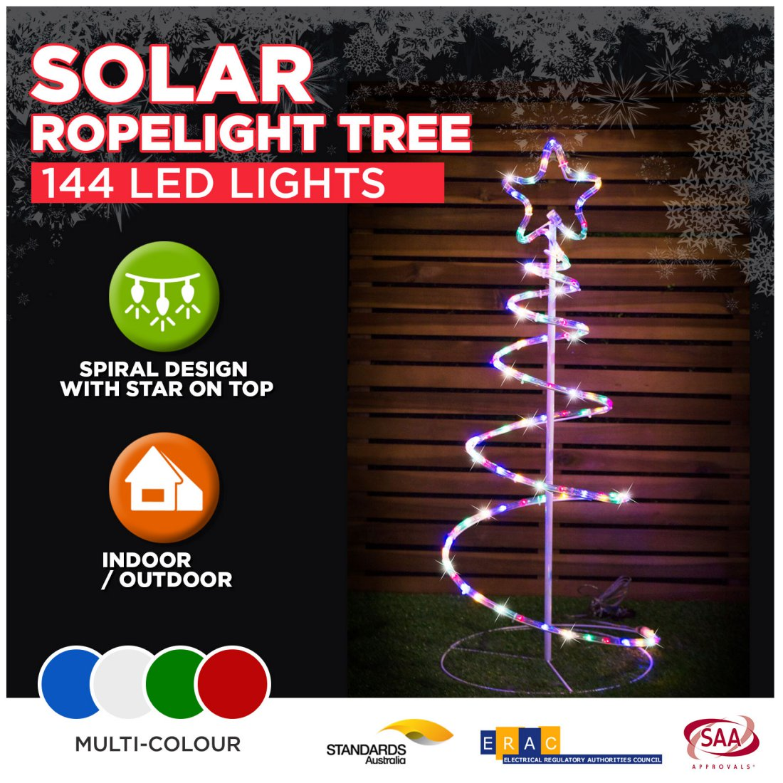 Solar Rope Light Spiral Tree LED Multi Colour Outdoor Christmas Light Decor 90cm